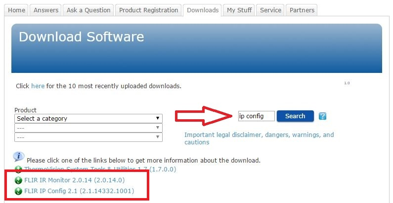 Downloading FLIR IP Config and FLIR IR Monitor