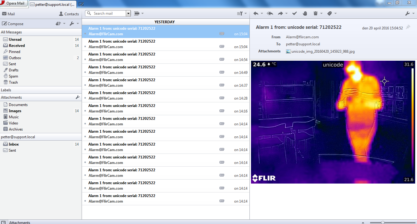 Configuring an E-mail server to work with a FLIR camera