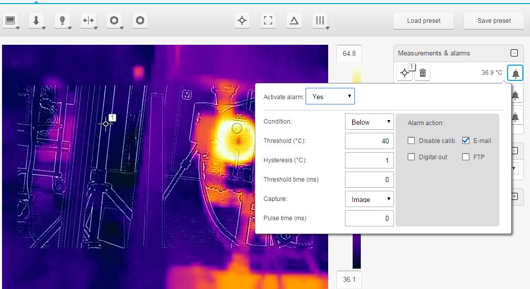 Configuring the e-mail alarm for the FLIR A310 and AX8