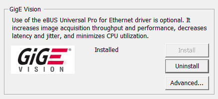 Updating/installing GigE and USB Vision drivers using Driver