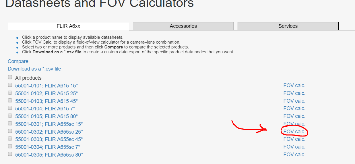 Online FoV Calculators