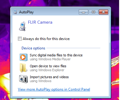FLIR Tools will not detect my camera so I cannot transfer images